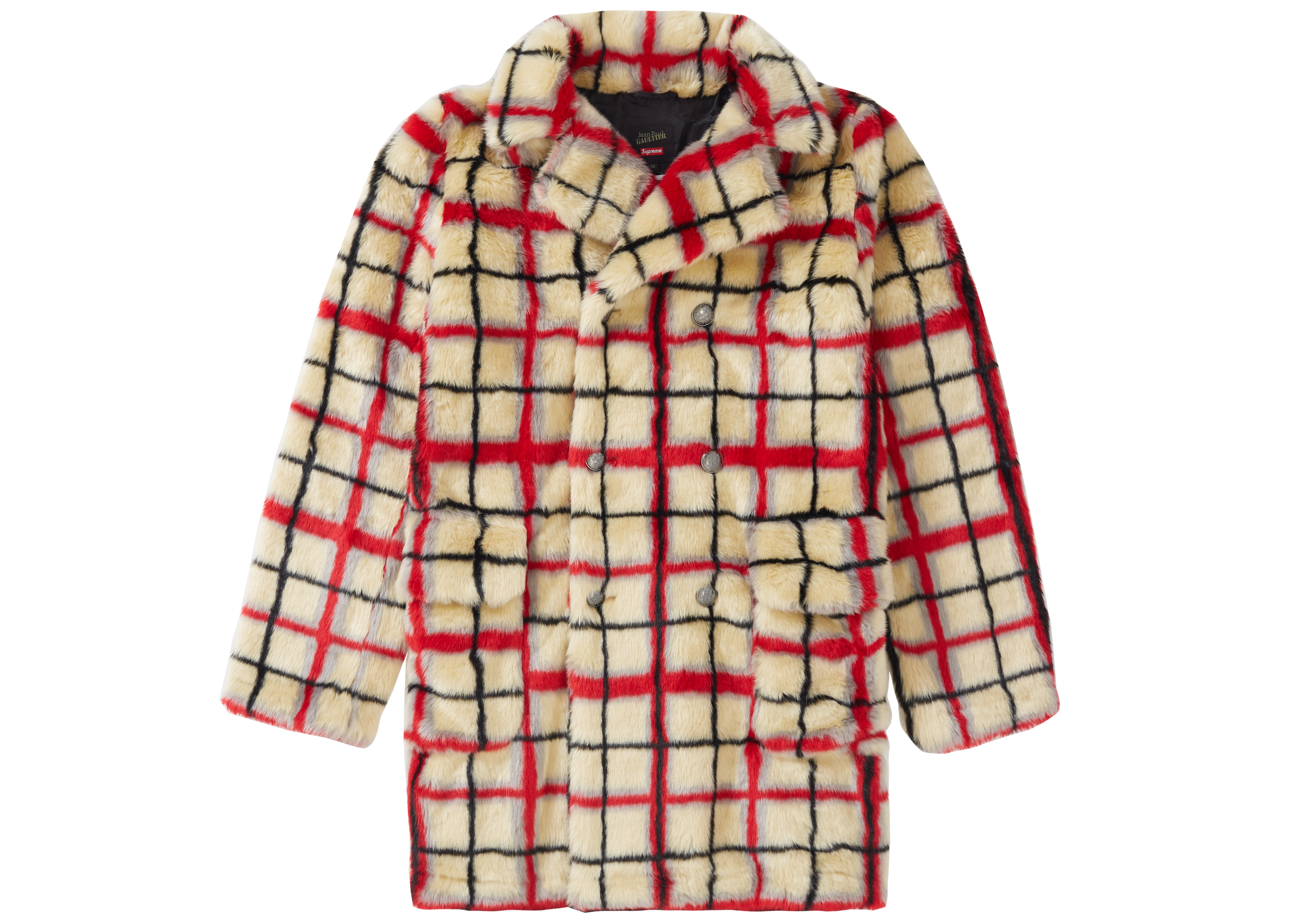 Paul Jean Breasted Coat Supreme Offwhite Gaultier Fur Double Faux Plaid hQtsrCd