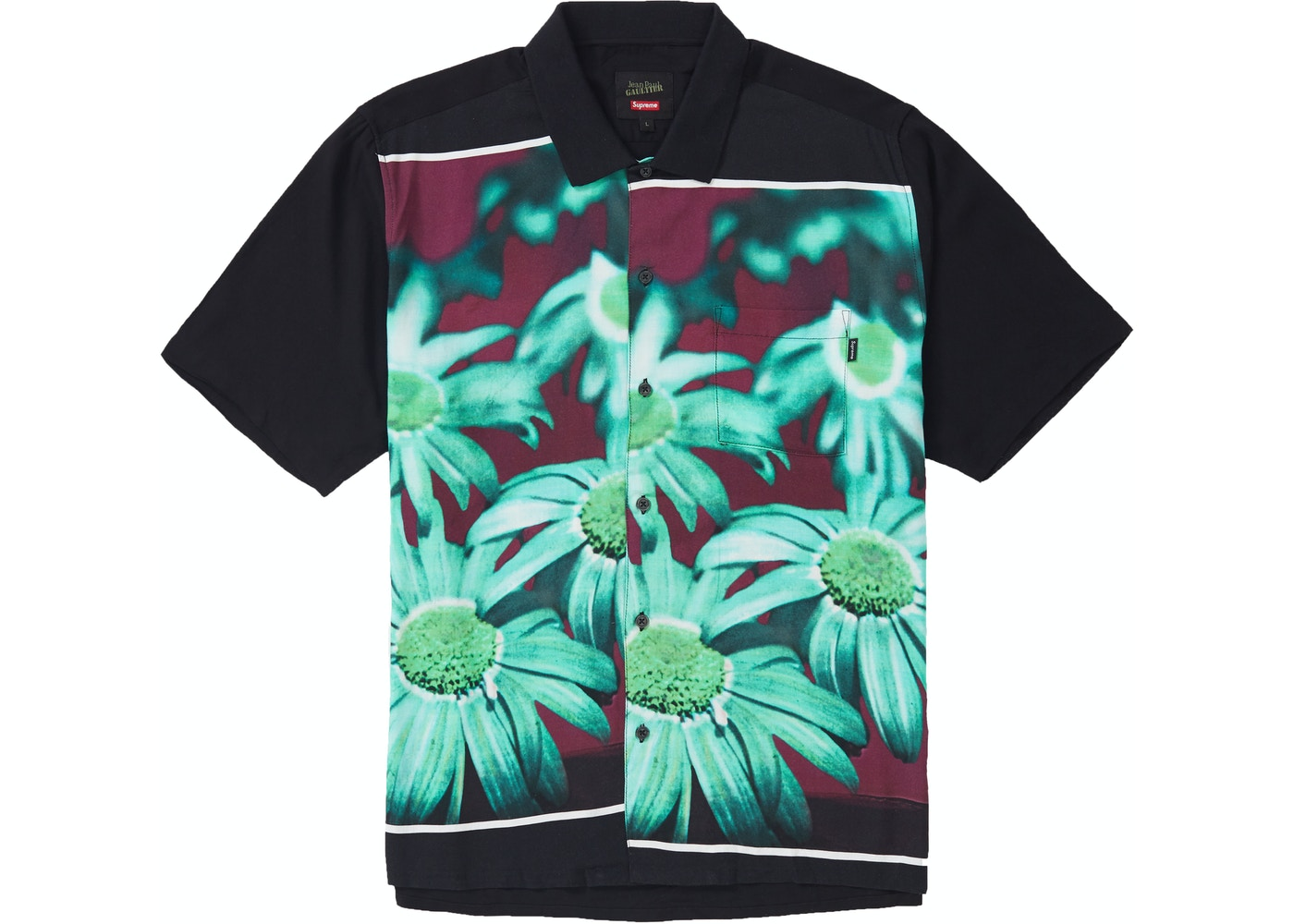 301451bfe18 Supreme Jean Paul Gaultier Flower Power Rayon Shirt Black - SS19