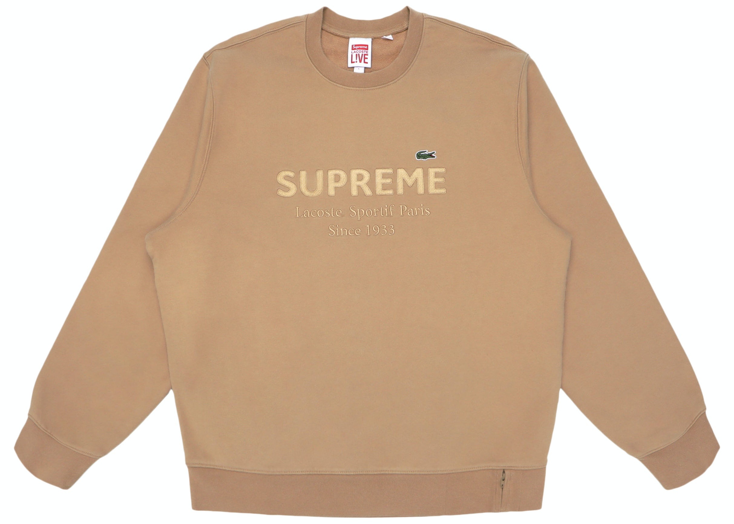 Supreme LACOSTE Crewneck Light Brown