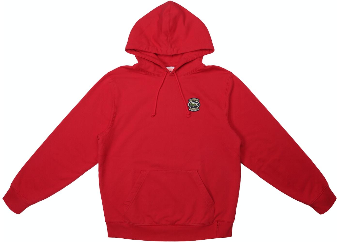 966ce11b Supreme LACOSTE Hooded Sweatshirt Red