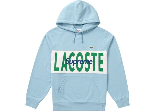 Supreme Lacoste Logo Panel Hooded Sweatshirt Light Blue Fw19