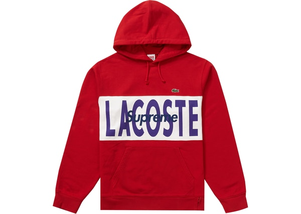 Supreme Lacoste Logo Panel Hooded Sweatshirt Red Fw19