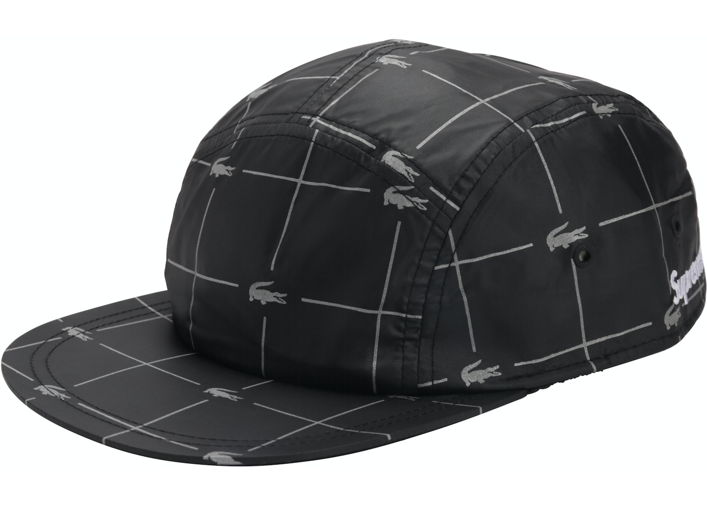 Sell. or Ask. View All Bids. Supreme LACOSTE Reflective Grid Nylon Camp Cap  Black 53d59970fa9
