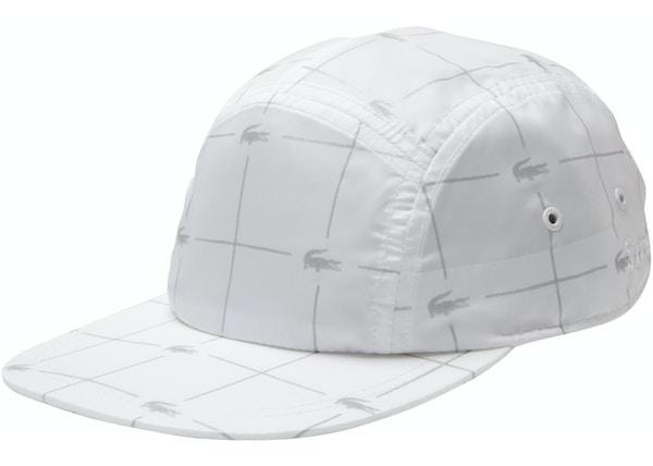 b1f8efe5 Supreme LACOSTE Reflective Grid Nylon Camp Cap White