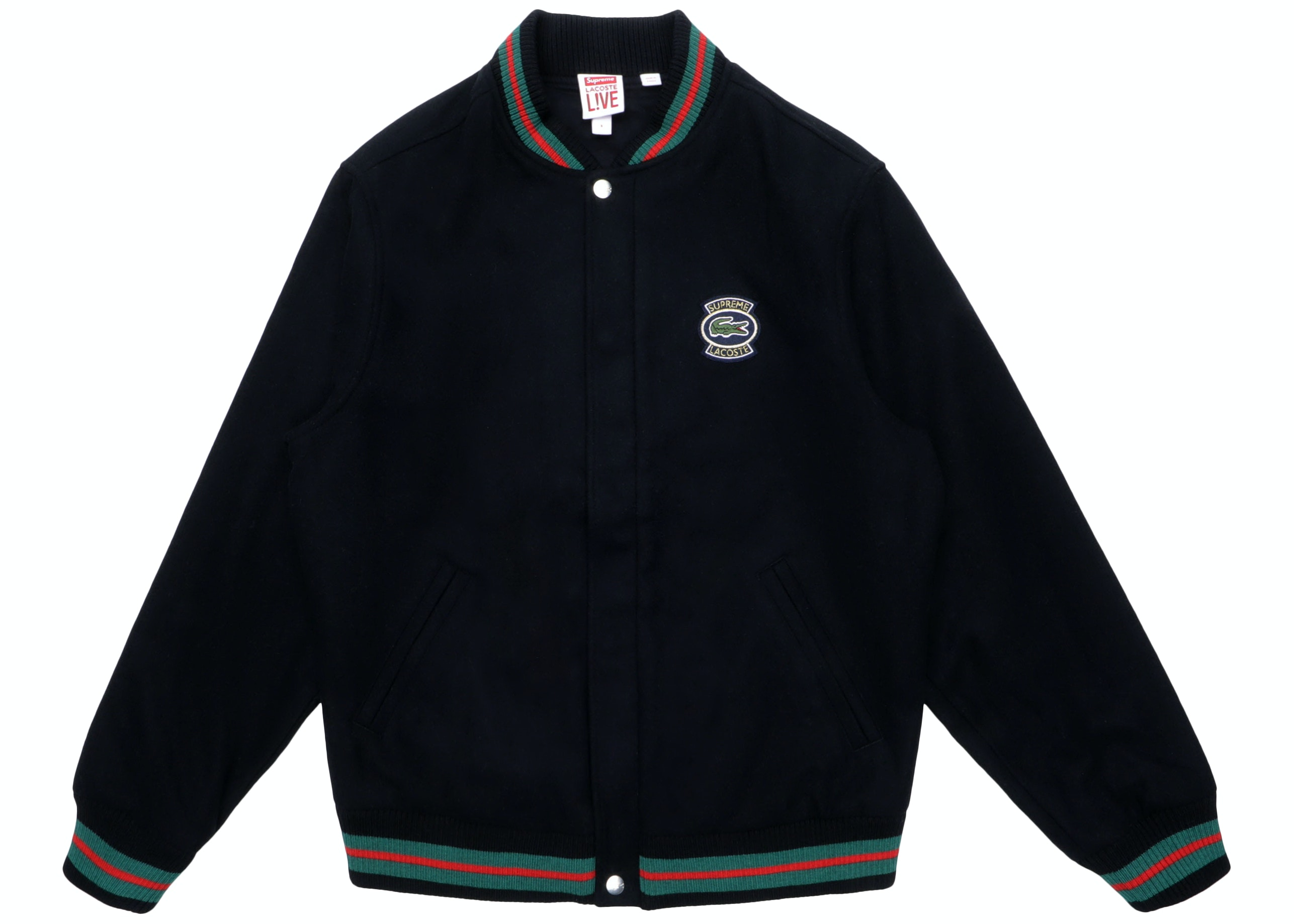 Supreme Lacoste Wool Varsity Jacket Black Ss18