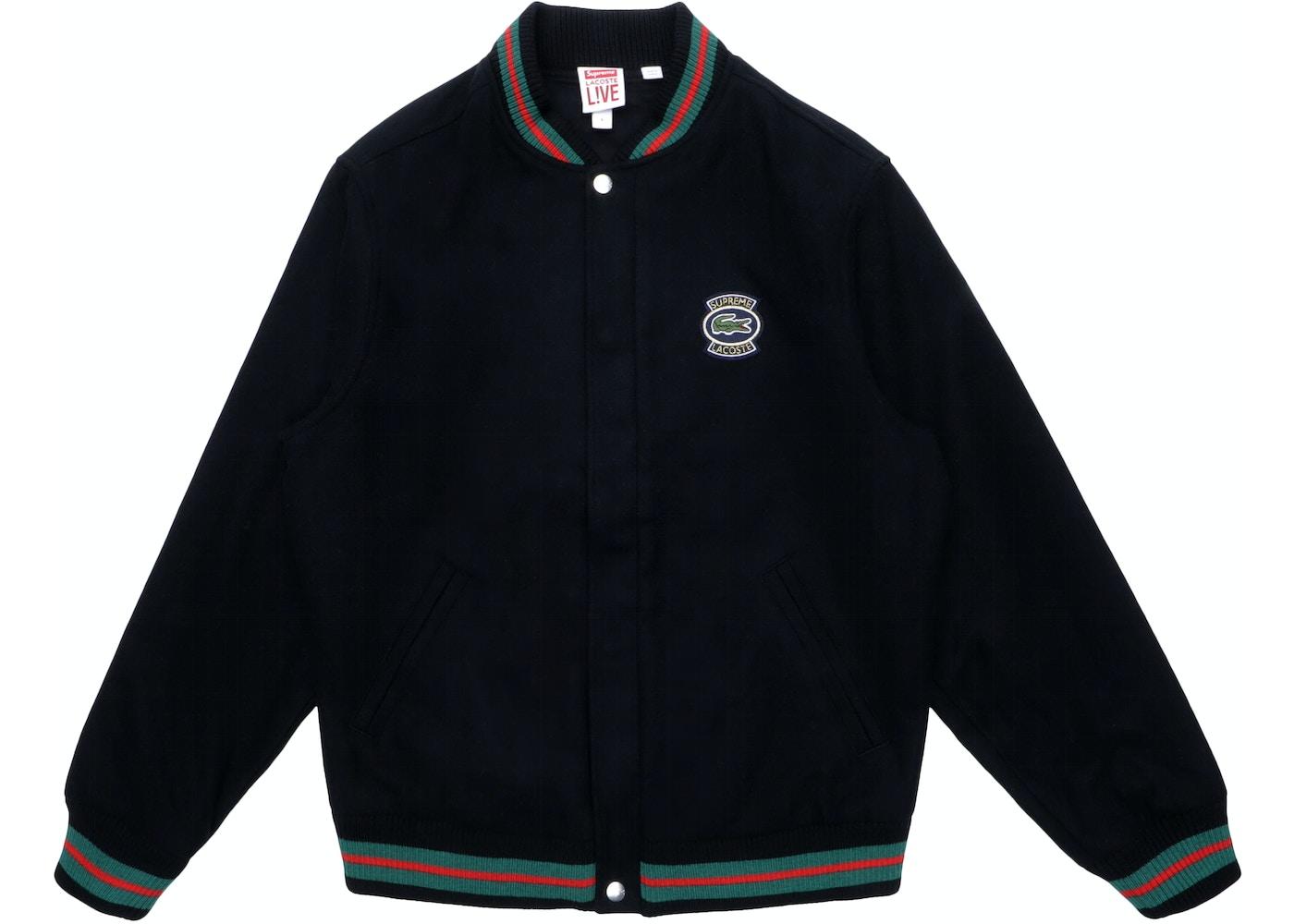 b2cbadb6 Supreme LACOSTE Wool Varsity Jacket Black - SS18
