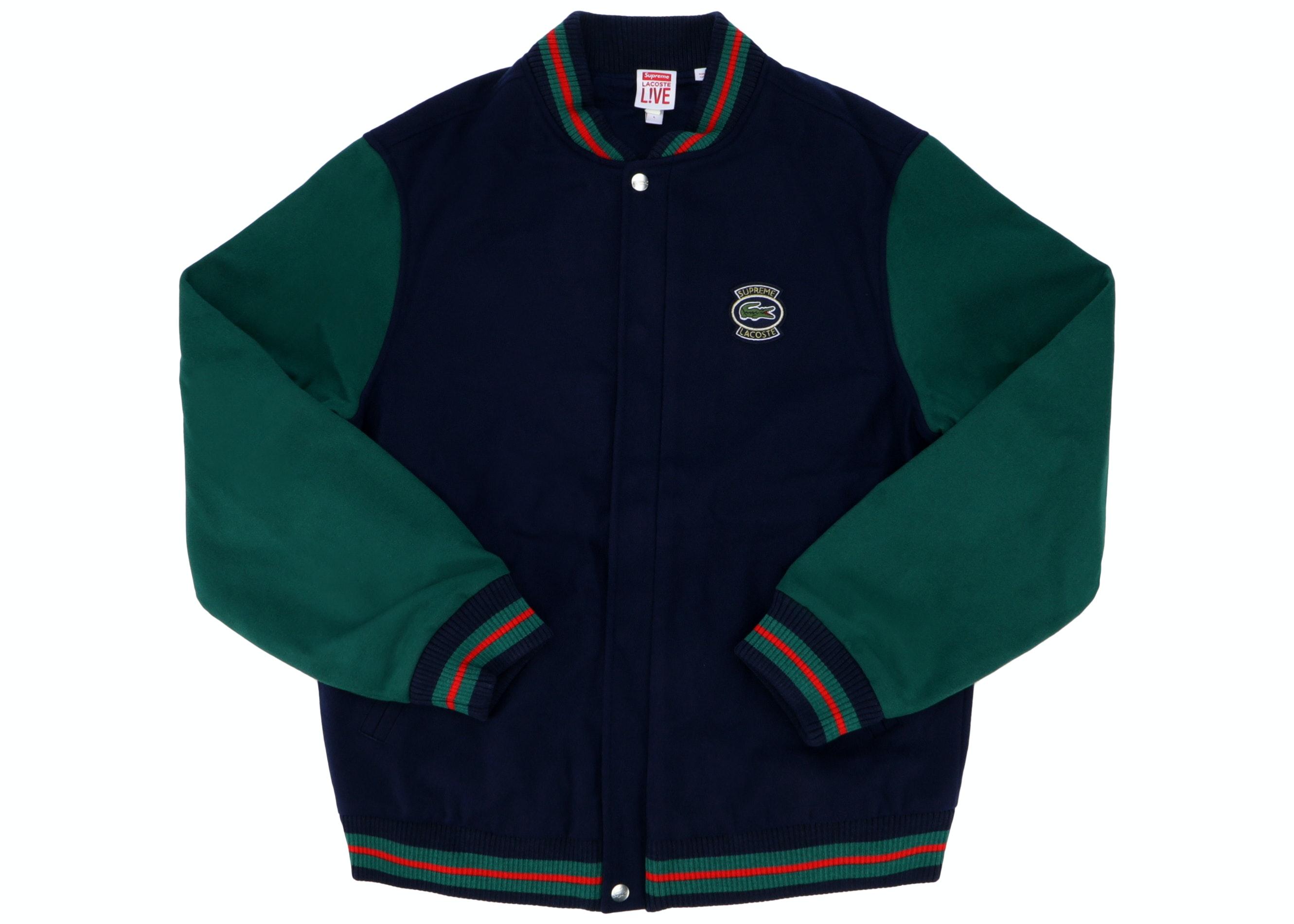 Supreme Lacoste Wool Varsity Jacket Navy Ss18