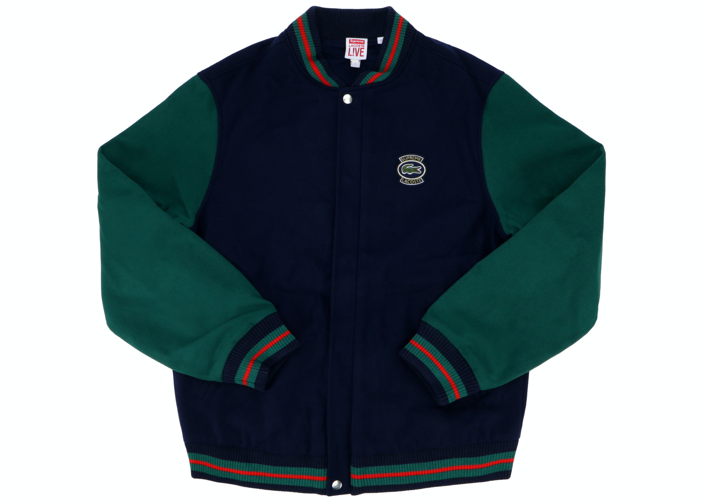Supreme LACOSTE Wool Varsity Jacket Navy