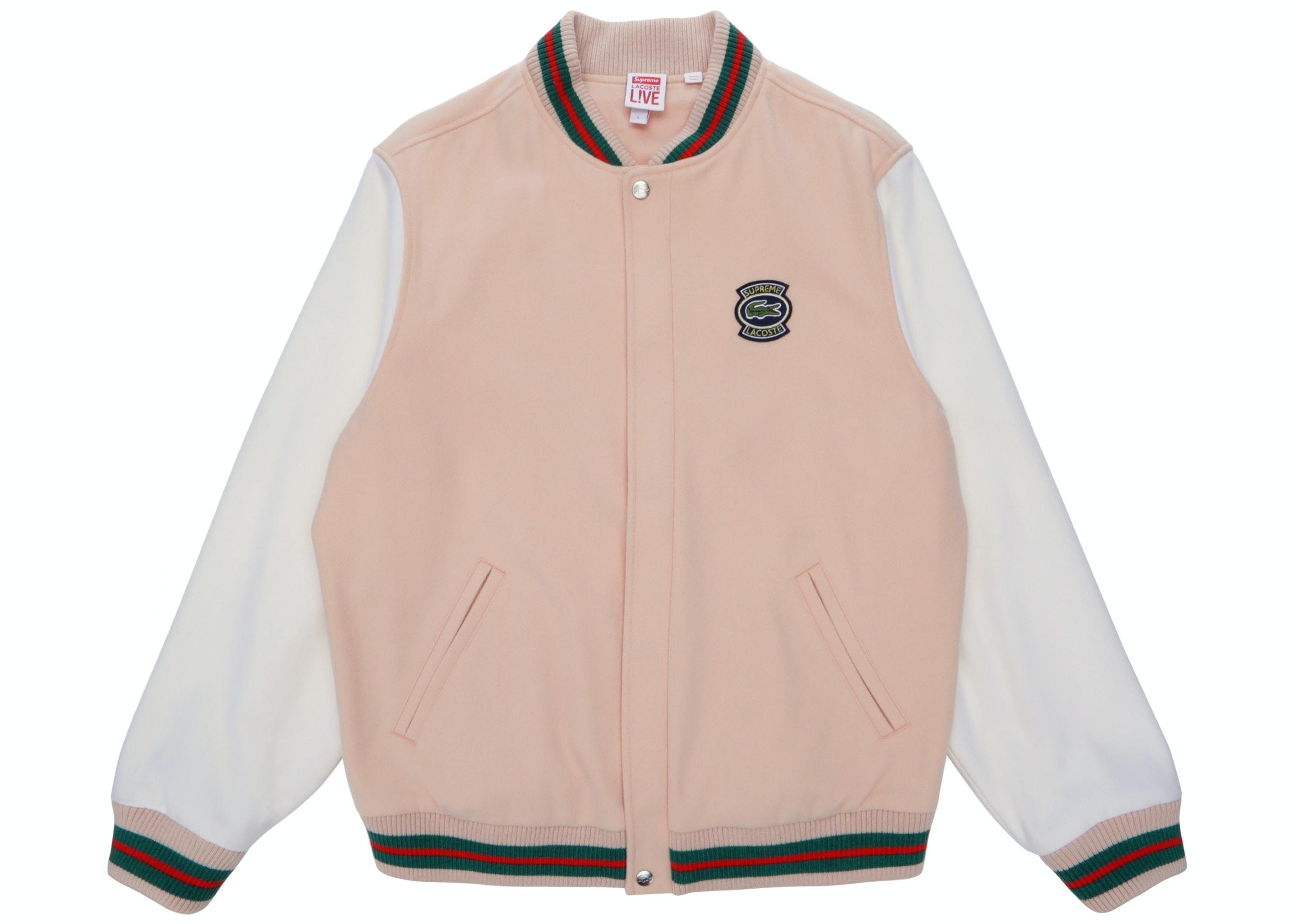 Supreme Lacoste Wool Varsity Jacket Peach Ss18