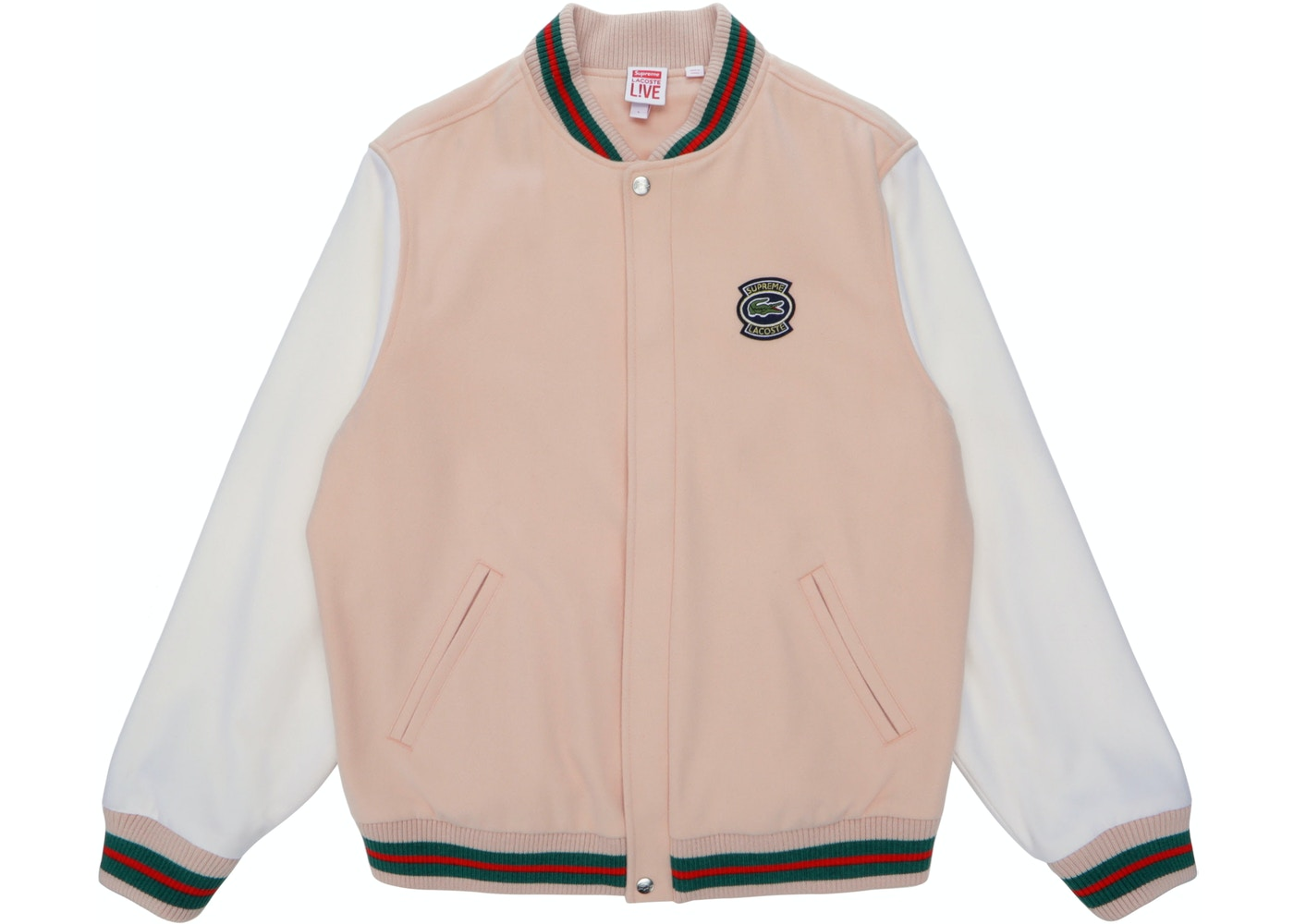 9526e554a Supreme LACOSTE Wool Varsity Jacket Peach - SS18