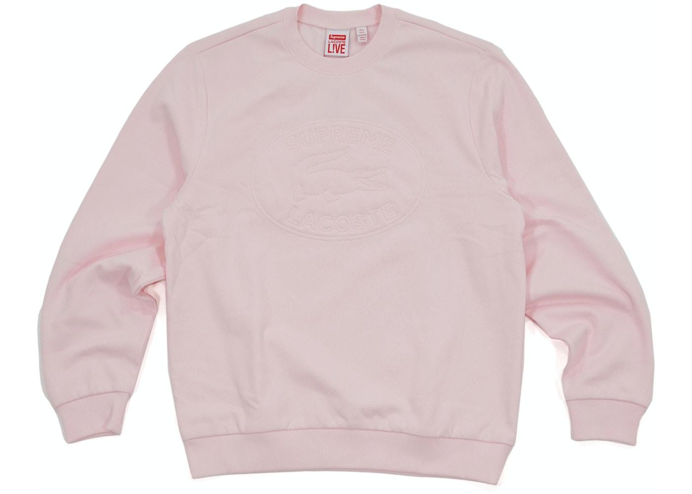 super popular 1a671 5b791 Supreme Lacoste Pique Crewneck Light Pink - SS17