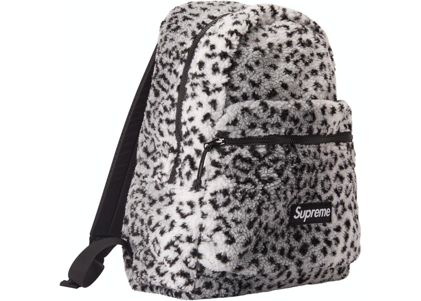 Supreme Leopard Fleece Backpack White