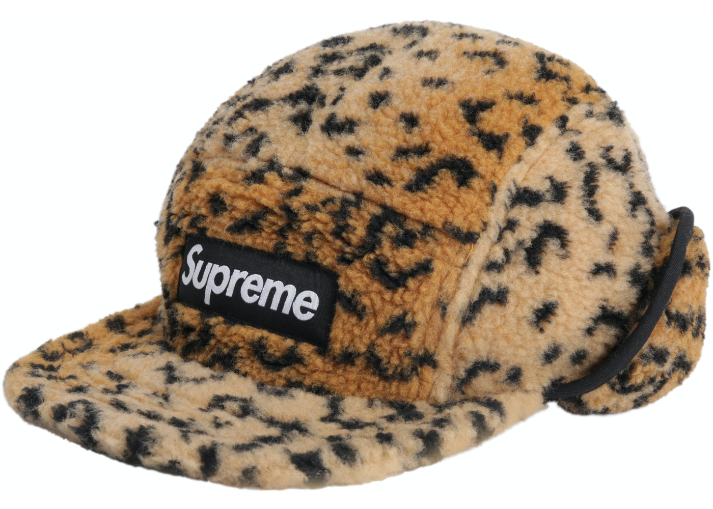 9ab2cf6a Supreme Leopard Polar Fleece Earflap Camp Cap Gold - FW17