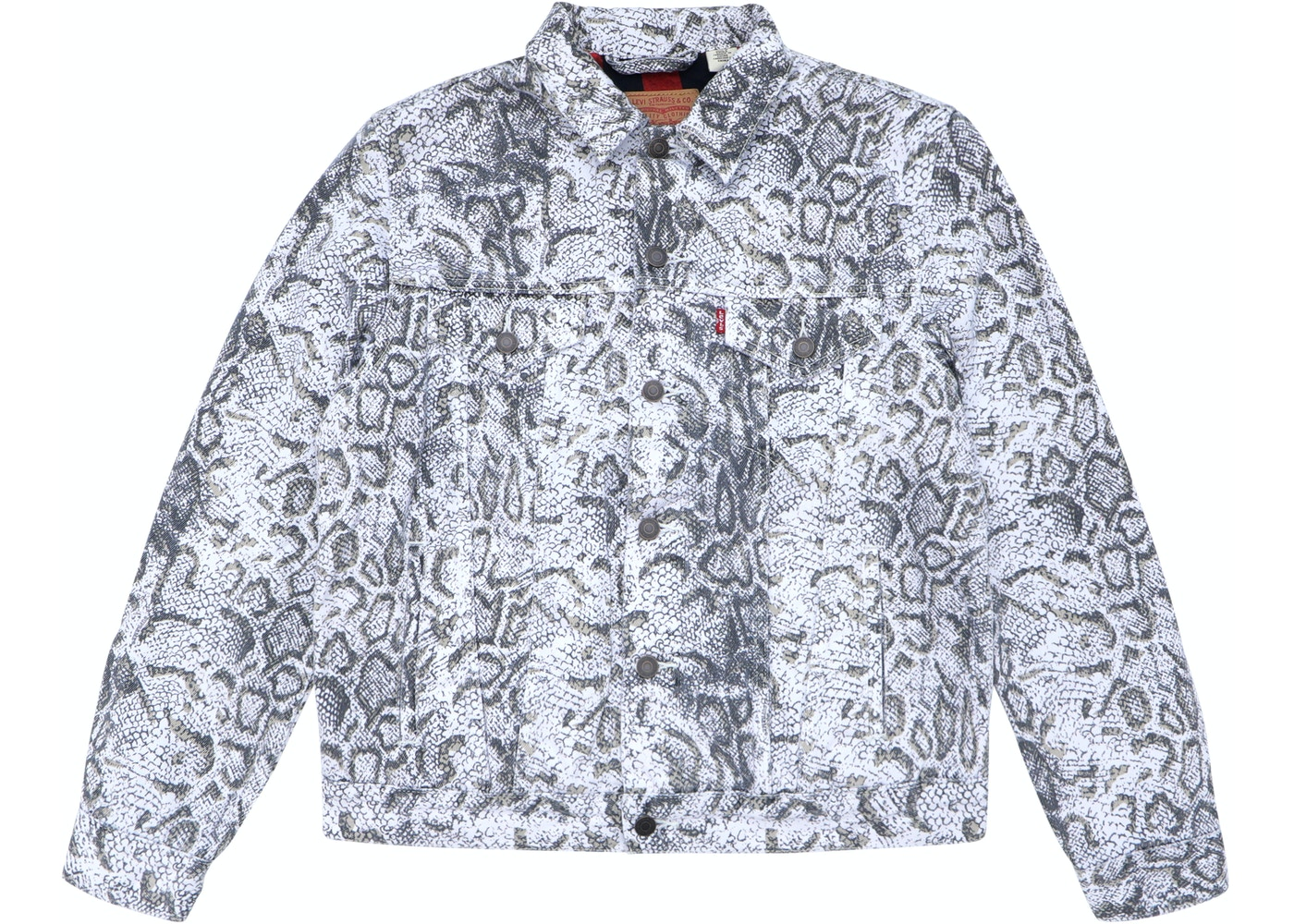 143ee396 Sell. or Ask. Size M. View All Bids. Supreme Levi's Snakeskin Trucker  Jacket White