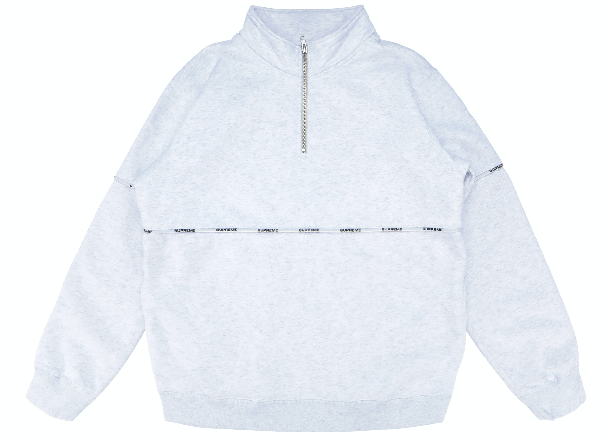Supreme Logo Piping Half Zip Sweatshirt Ash Grey by Stock X