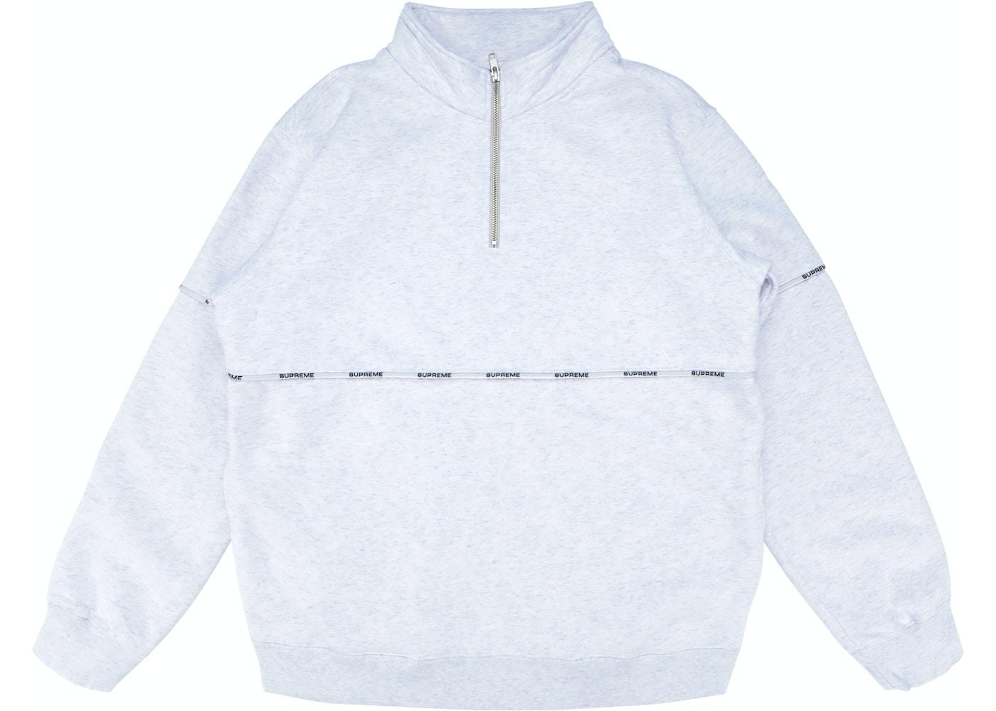 b59edc2ebe8 HypeAnalyzer · Supreme Logo Piping Half Zip Sweatshirt Ash Grey