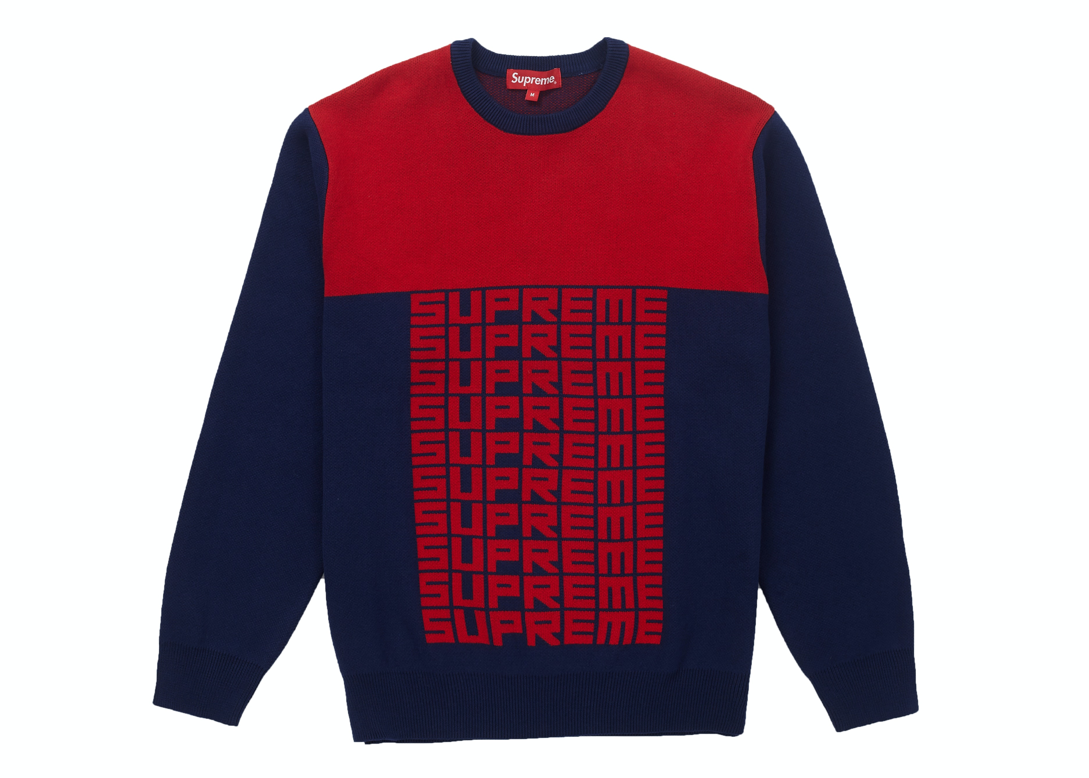 Supreme Logo Repeat Sweater Navy
