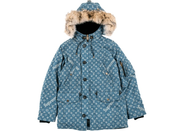 0d2badfa29e Supreme Louis Vuitton Jacquard Denim N-3B Parka Blue