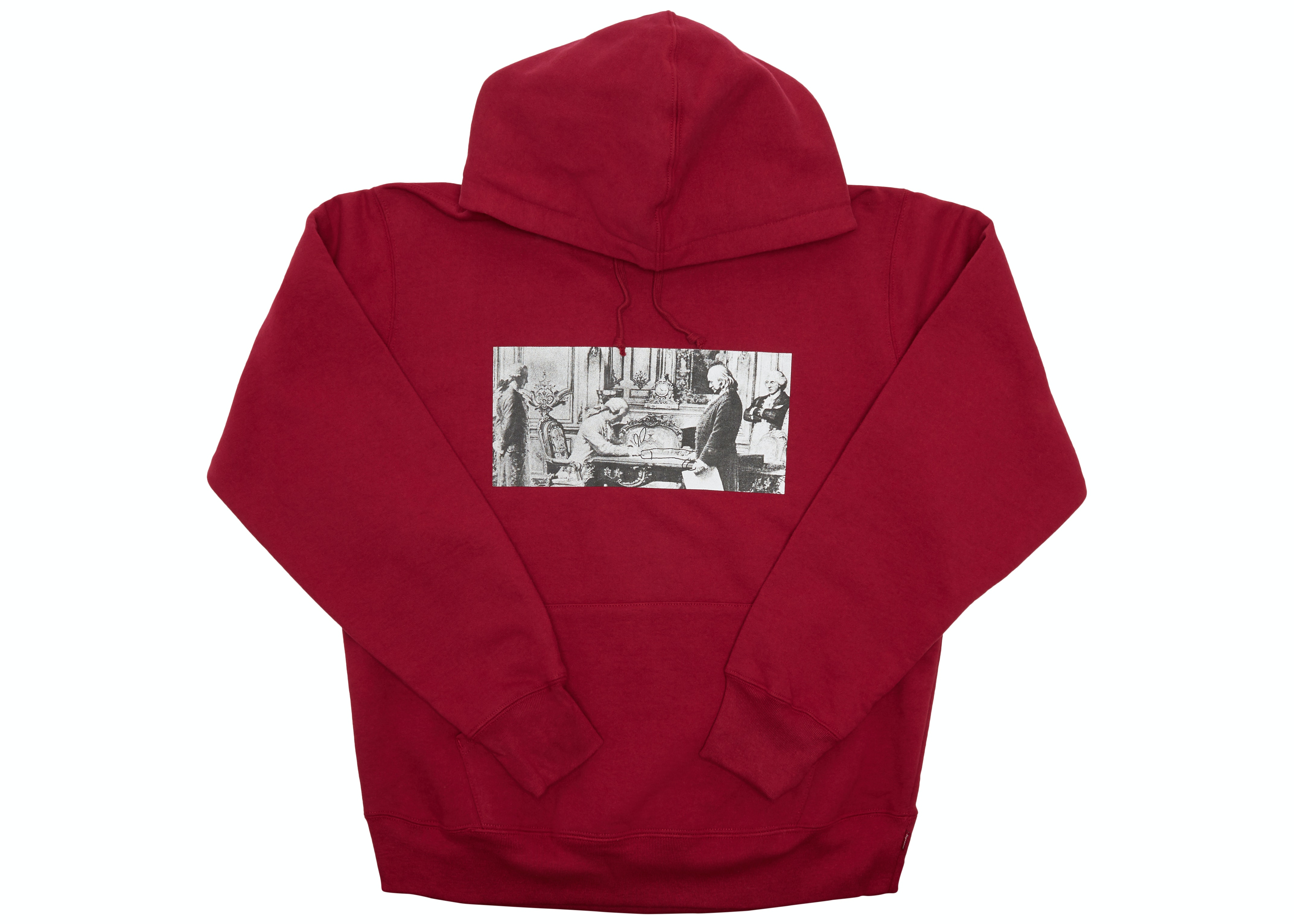 Supreme Mike Kelley Franklin Signing the Treaty of Alliance with French Officials Hooded Sweatshirt Dark Magenta