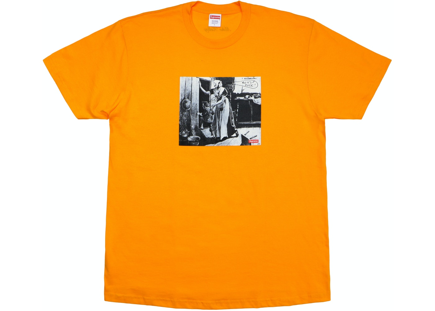 supreme mike kelley hiding from indians tee bright orange fw18