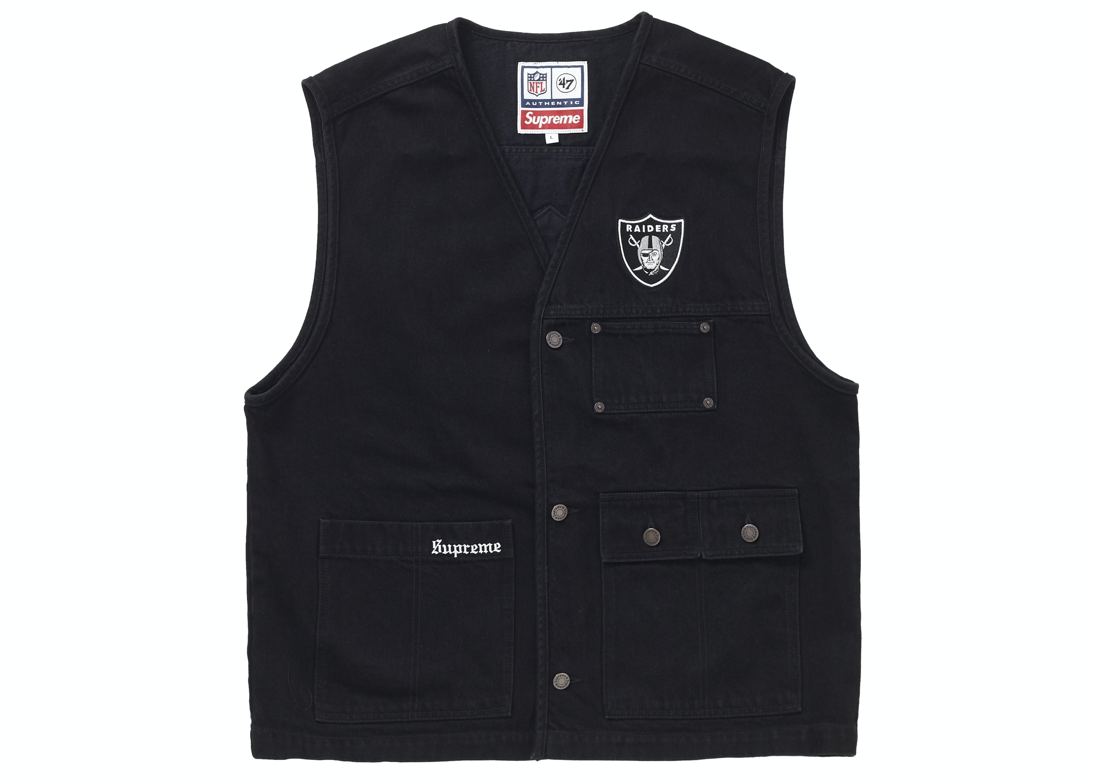 Supreme NFL x Raiders x '47 Denim Vest Black