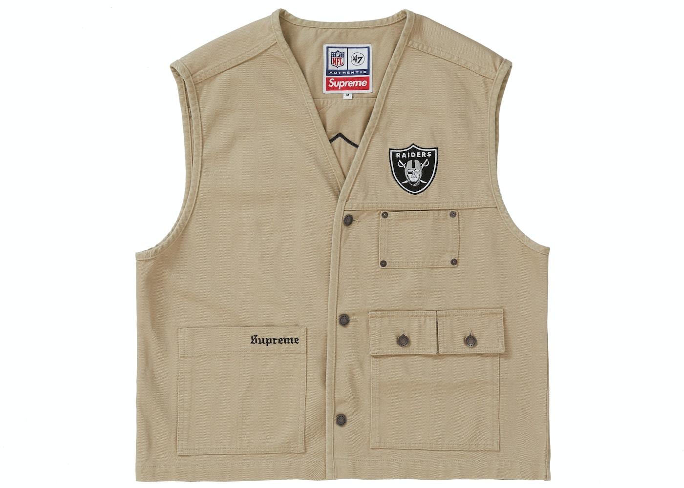 b65140d43 Supreme NFL x Raiders x '47 Denim Vest Khaki