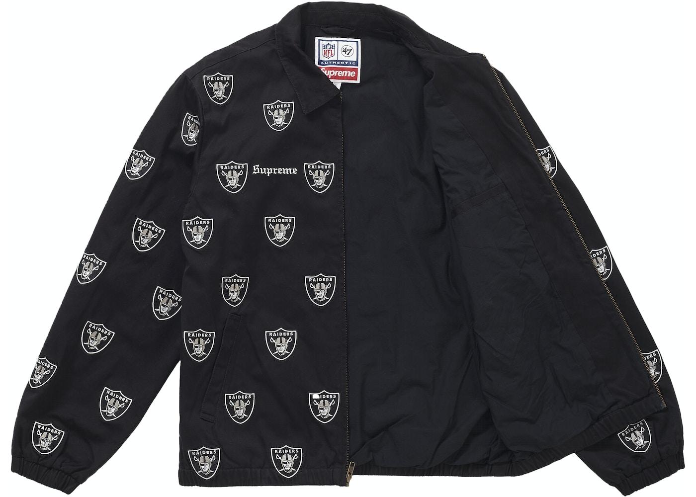best service 32cb5 ee2d9 Supreme NFL x Raiders x '47 Embroidered Harrington Jacket Black