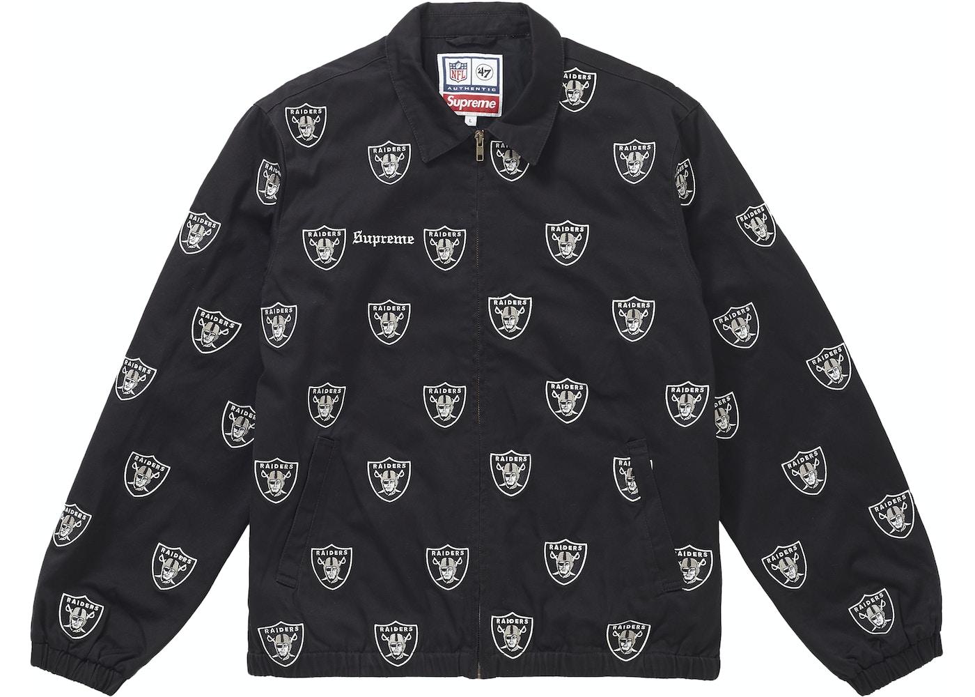 dde0a8c53ac Supreme NFL x Raiders x '47 Embroidered Harrington Jacket Black - SS19
