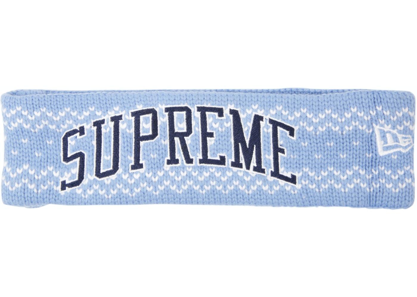 brand new 576cd 2be3c Supreme New Era Arc Logo Headband (FW17) Light Blue