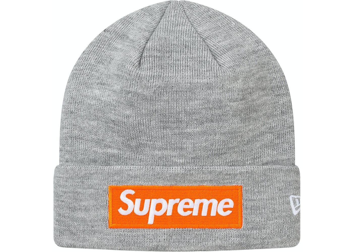 Supreme New Era Box Logo Beanie (FW17) Heather Grey - FW17 caa4f15386e