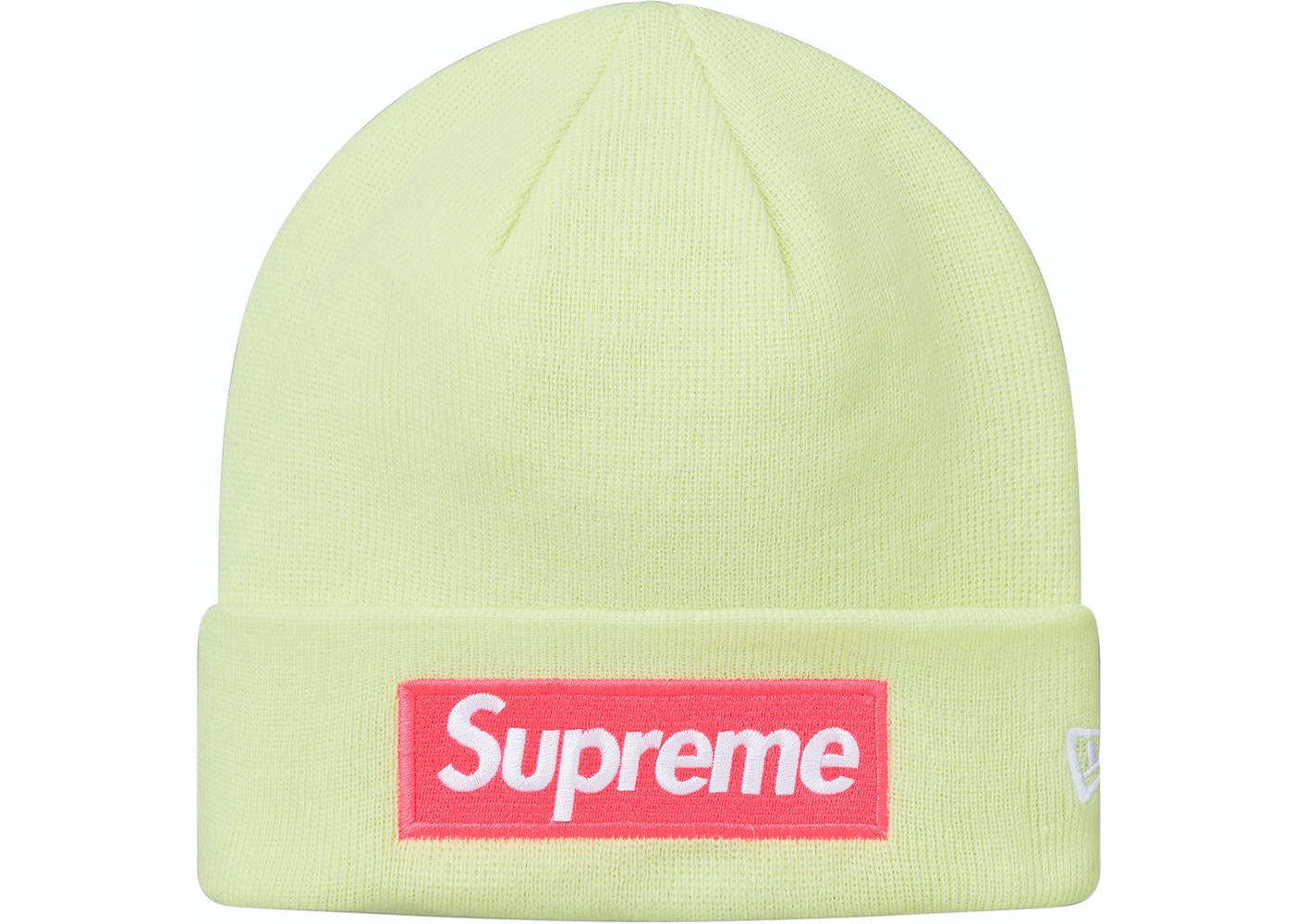 c91edbe1ea38b Supreme New Era Box Logo Beanie (FW17) Pale Lime - FW17