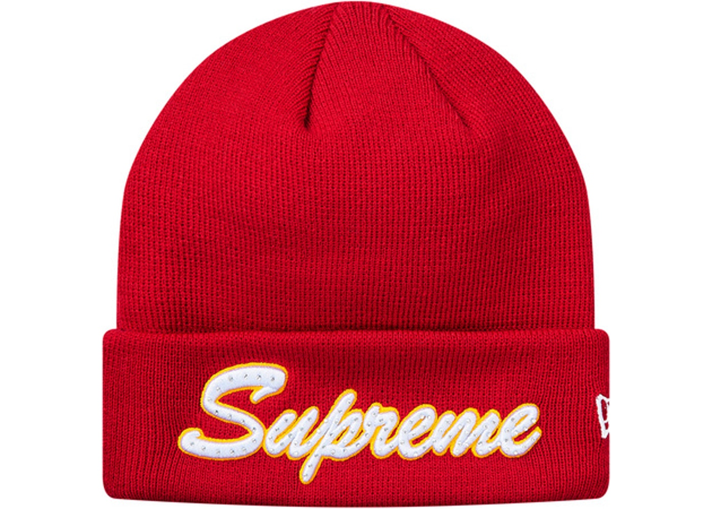Sell. or Ask. View All Bids. Supreme New Era Script Beanie (FW18) Red c69884d4c5e