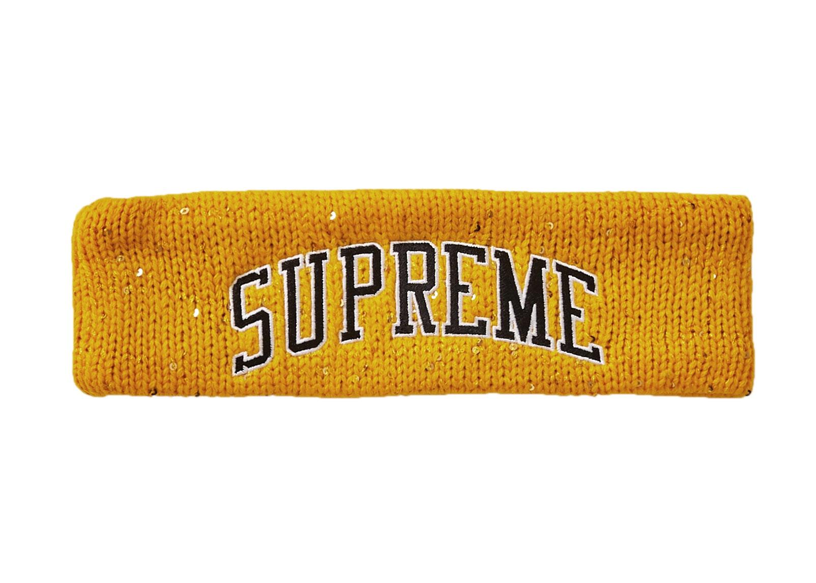 Supreme New Era Sequin Arc Logo Headband Yellow