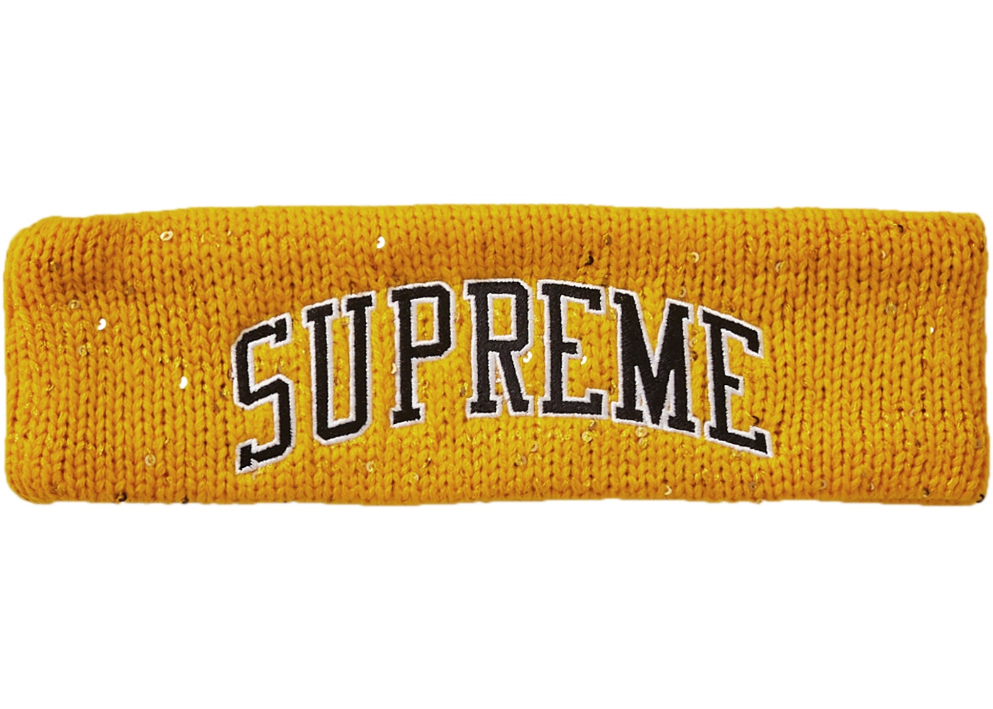 Supreme New Era Sequin Arc Logo Headband Yellow Fw18