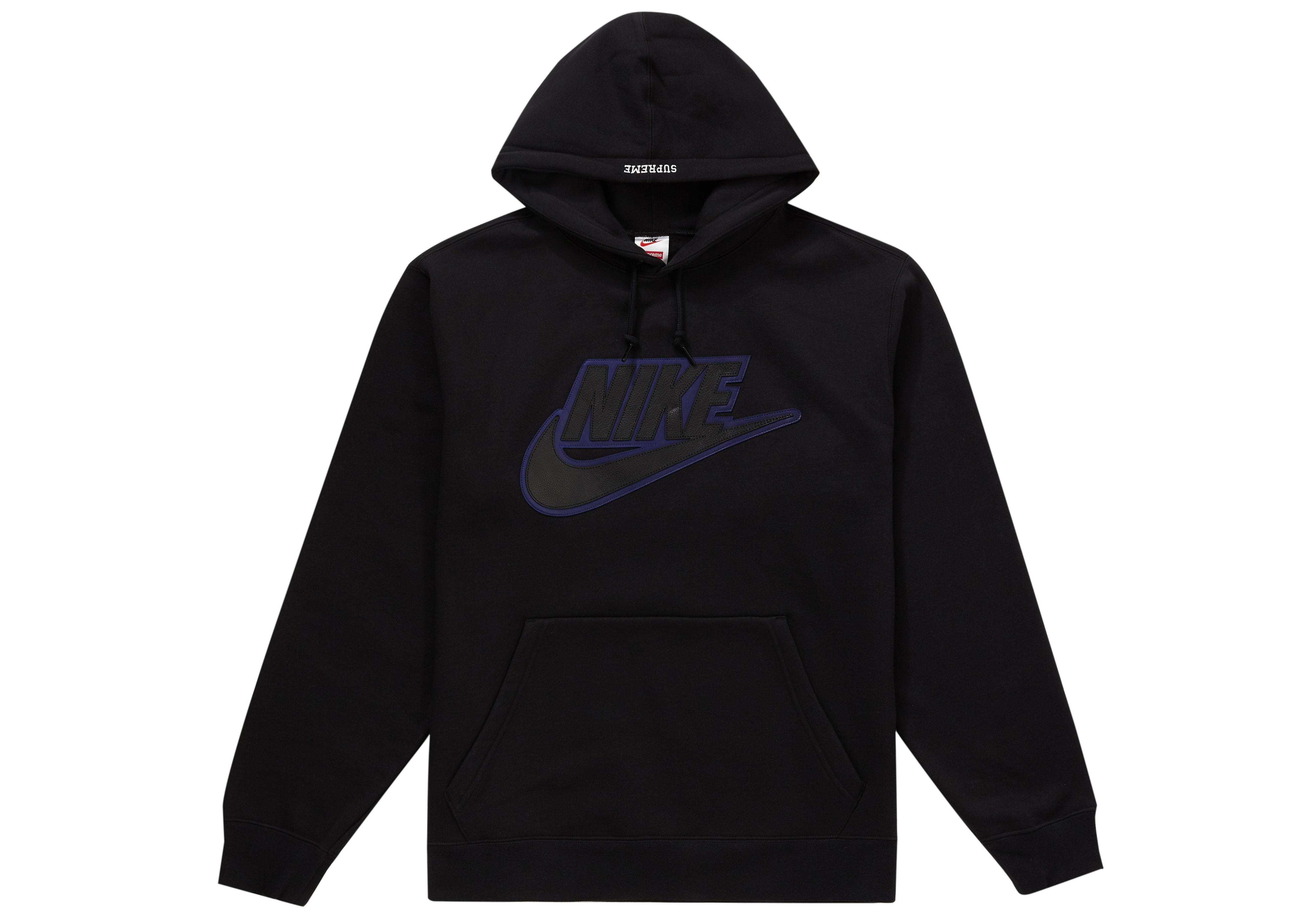 Supreme Nike Leather Applique Hooded Sweatshirt Black