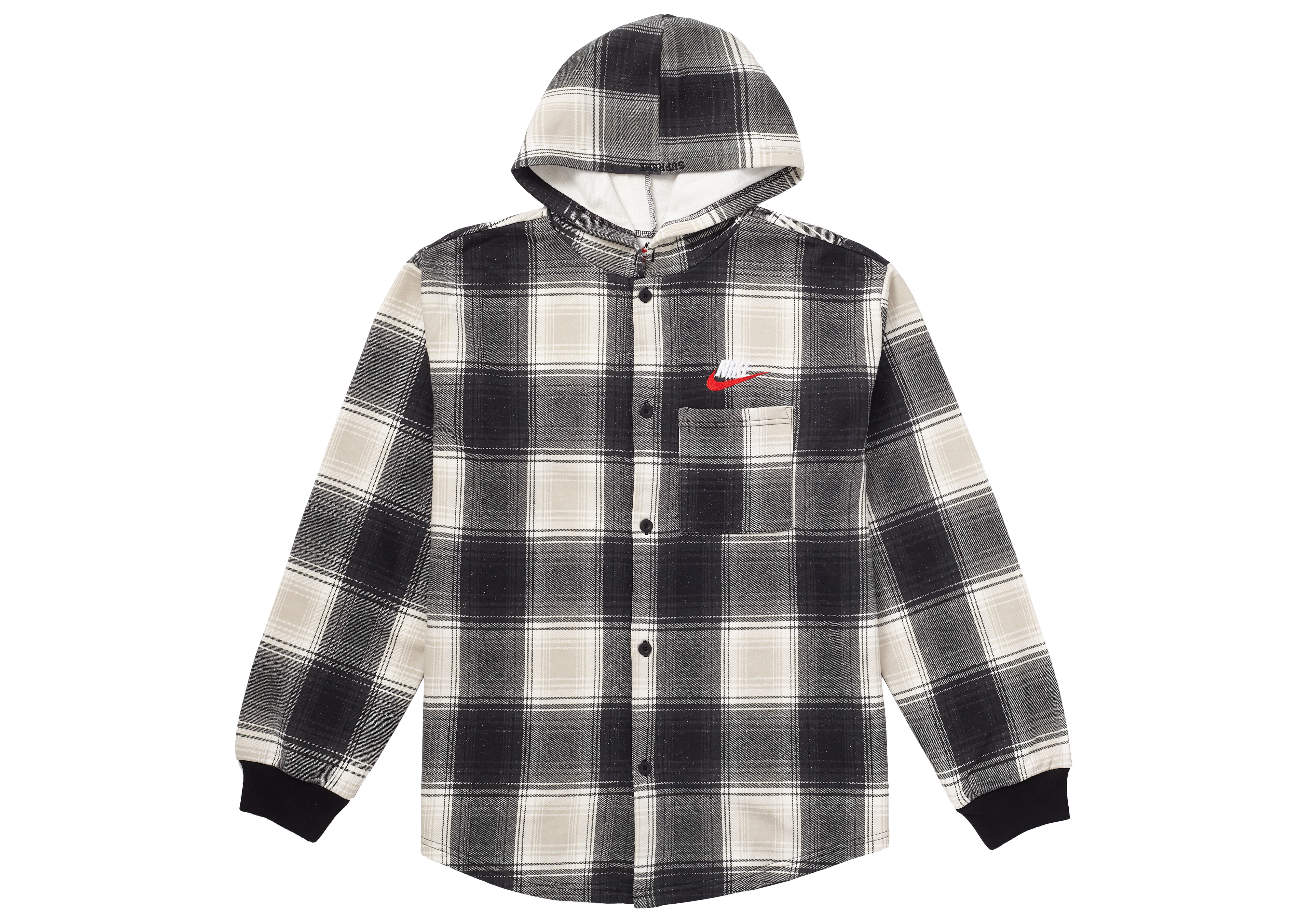 Supreme Nike Plaid Hooded Sweatshirt Black