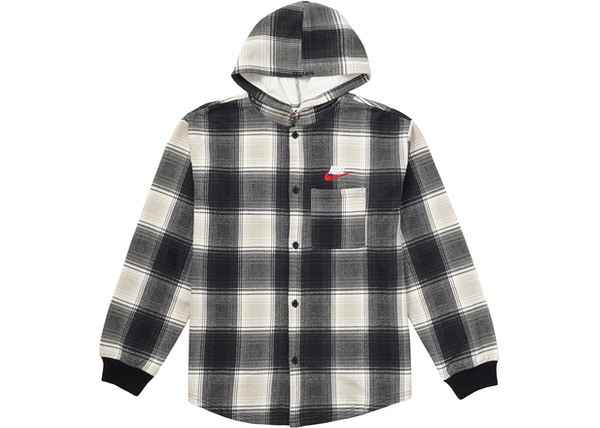 fast color wholesale dealer super specials Supreme Nike Plaid Hooded Sweatshirt Black