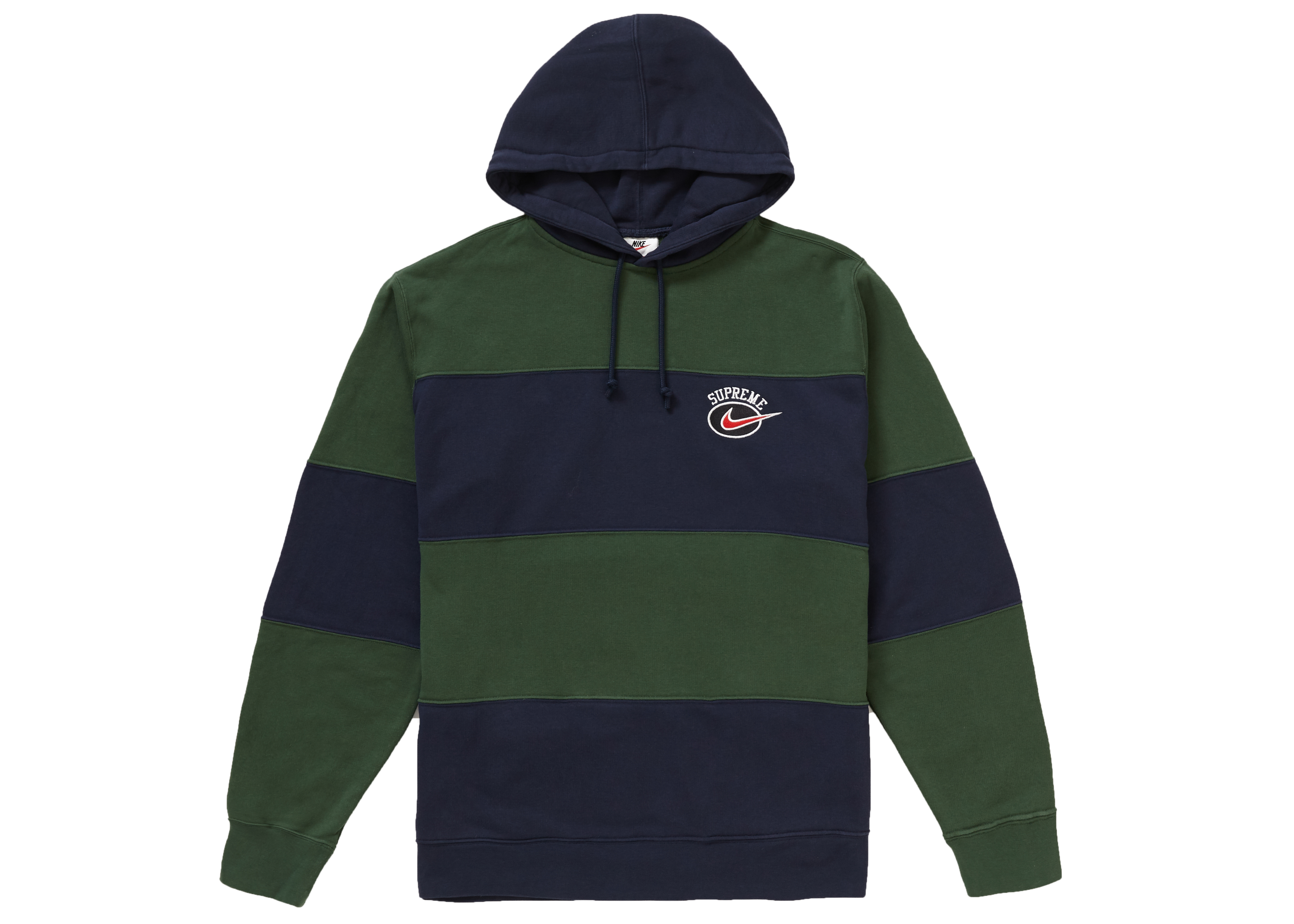 Supreme Nike Stripe Hooded Sweatshirt Navy