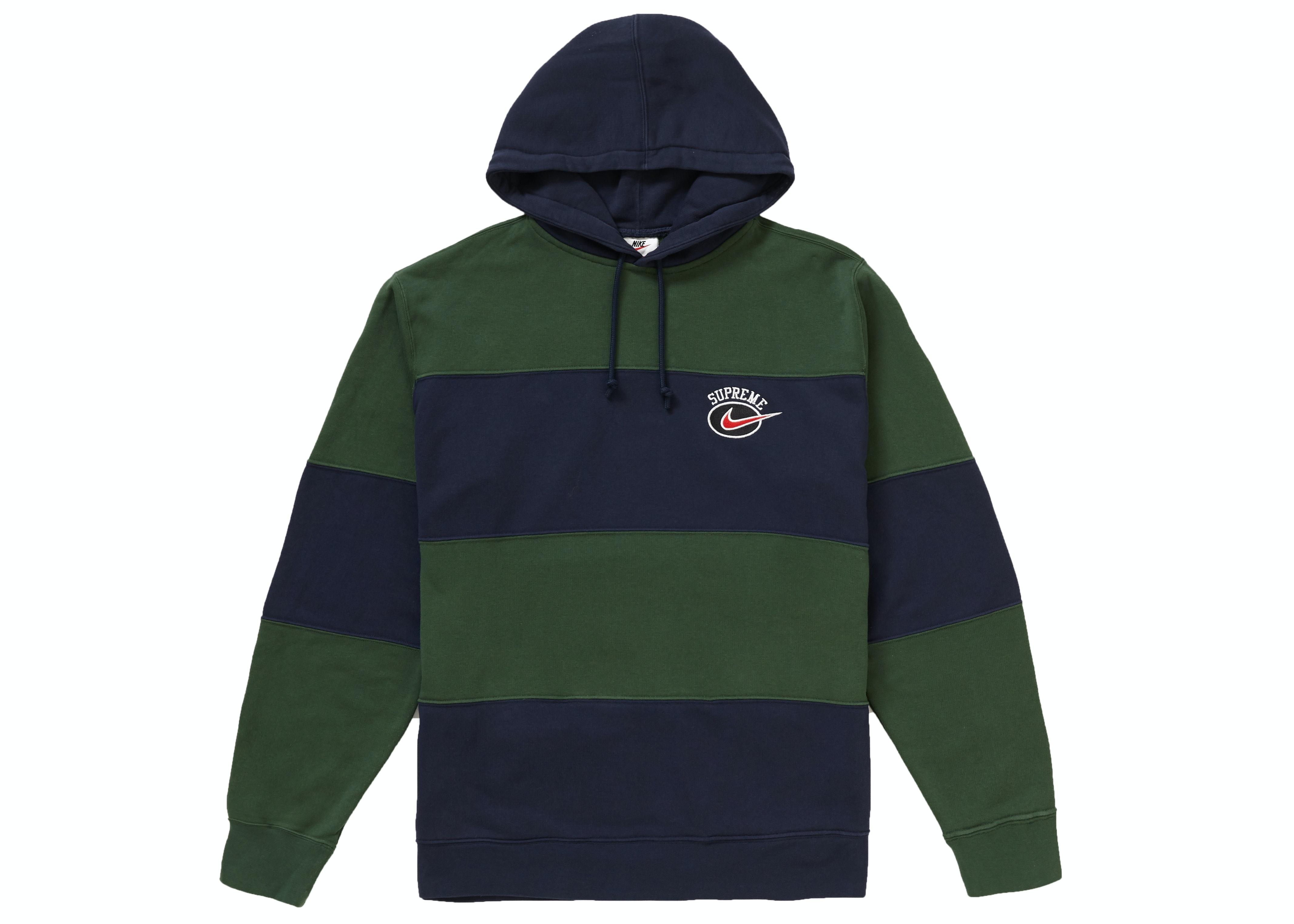 Supreme Nike Stripe Hooded Sweatshirt Navy