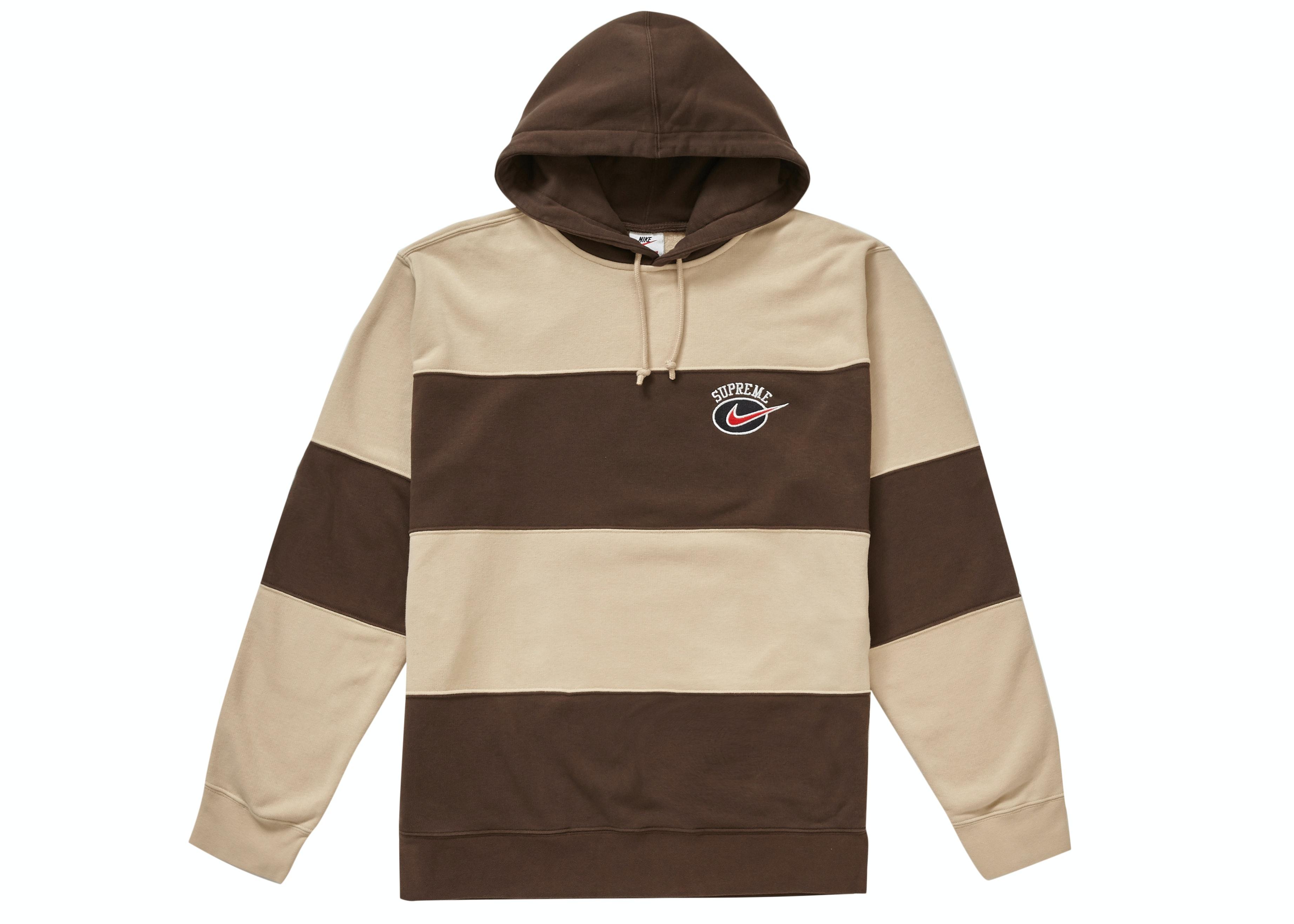 Supreme Nike Stripe Hooded Sweatshirt Tan
