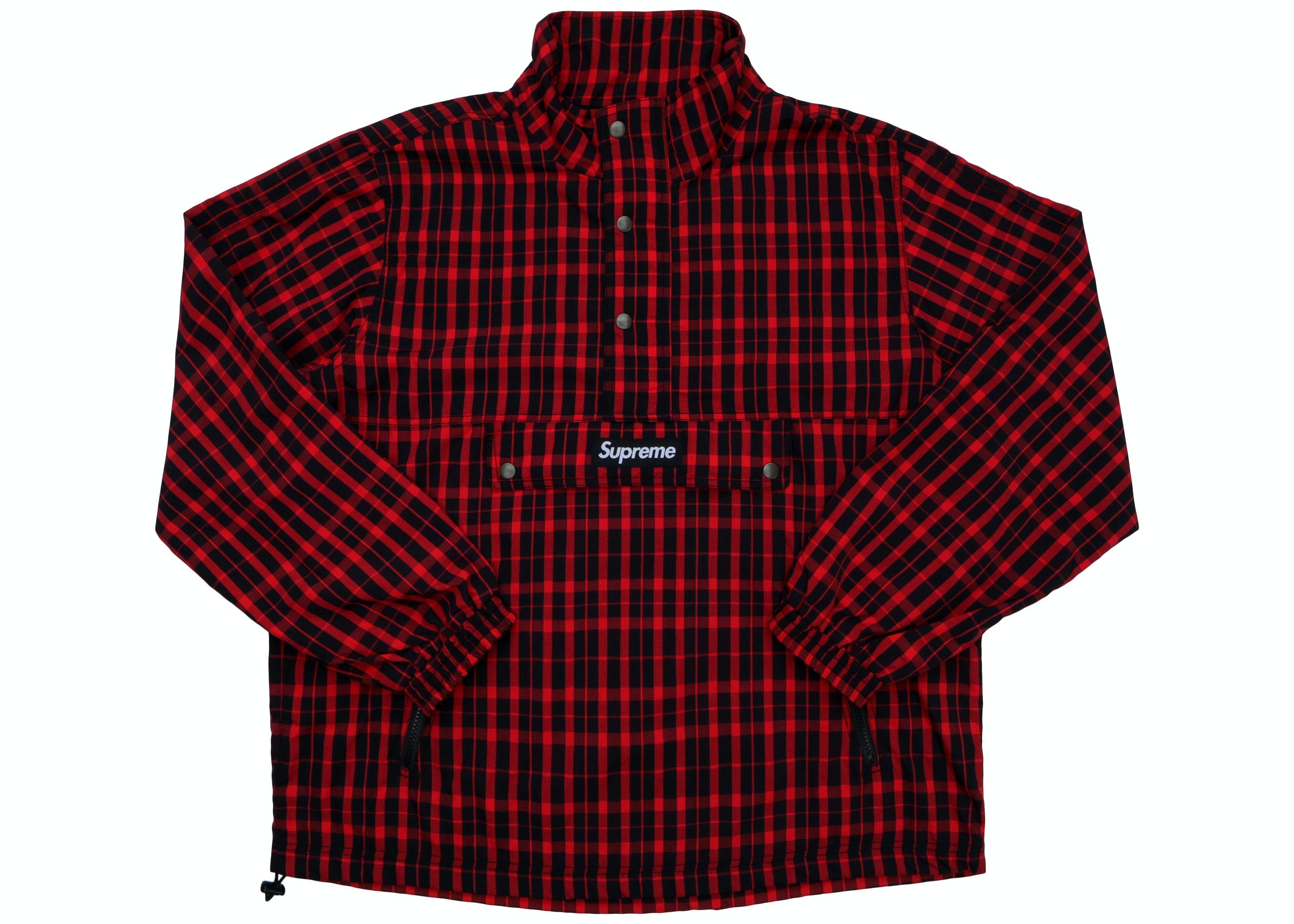 Supreme Nylon Plaid Pullover Red