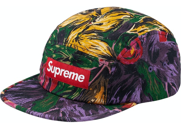 Supreme Painted Floral Camp Cap Purple - FW17 be2df750f22