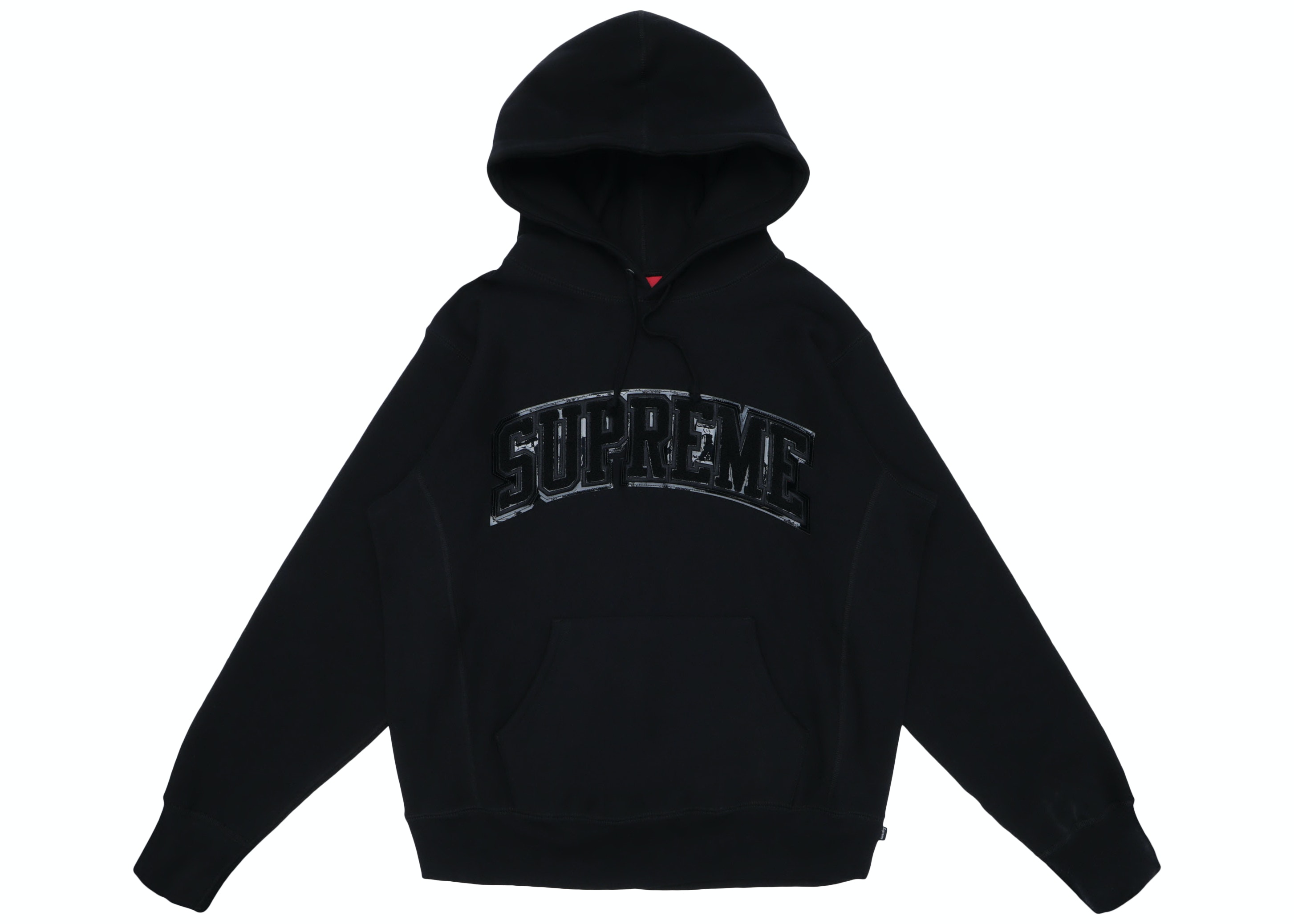 Supreme Patent/Chenille Arc Logo Hooded Sweatshirt Black