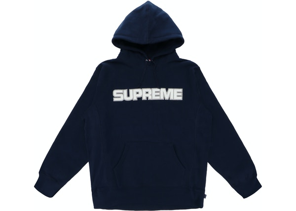 258d455a Supreme Perforated Leather Hooded Sweatshirt Navy