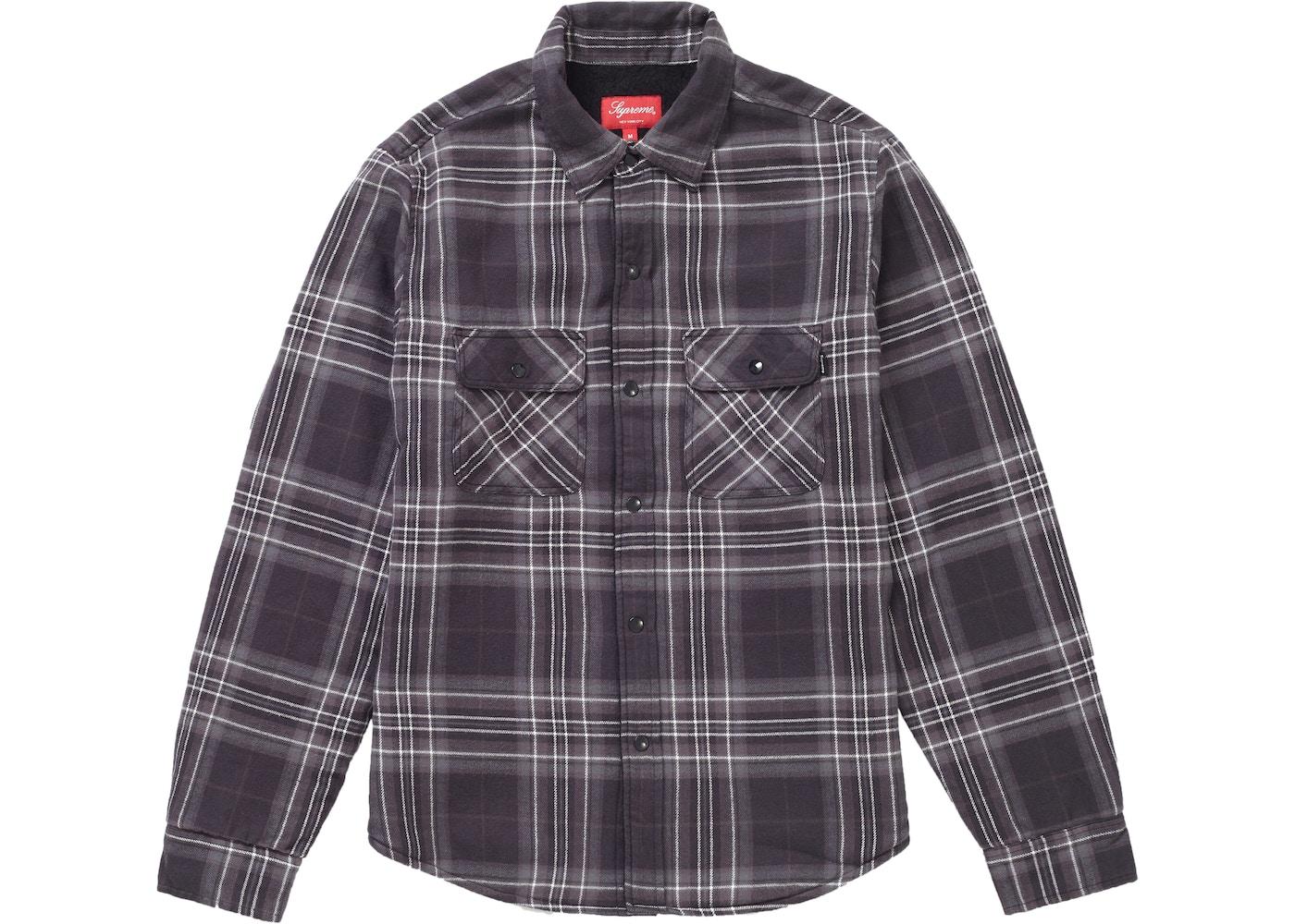 Supreme Pile Lined Plaid Flannel Shirt Black - FW18 3cf1b0761c0