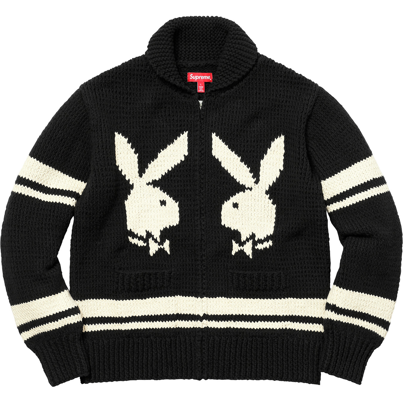 Supreme Playboy Shawl Collar Full Zip Sweater Black