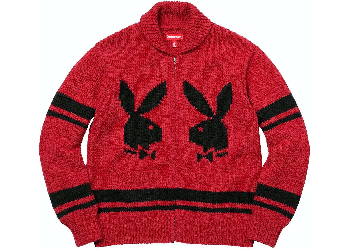 Playboy Shawl Collar Full Zip Sweater Red