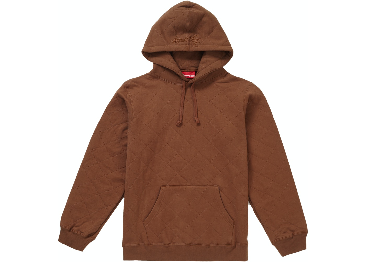 ca4f41181 Supreme Quilted Hooded Sweatshirt Brown - FW18