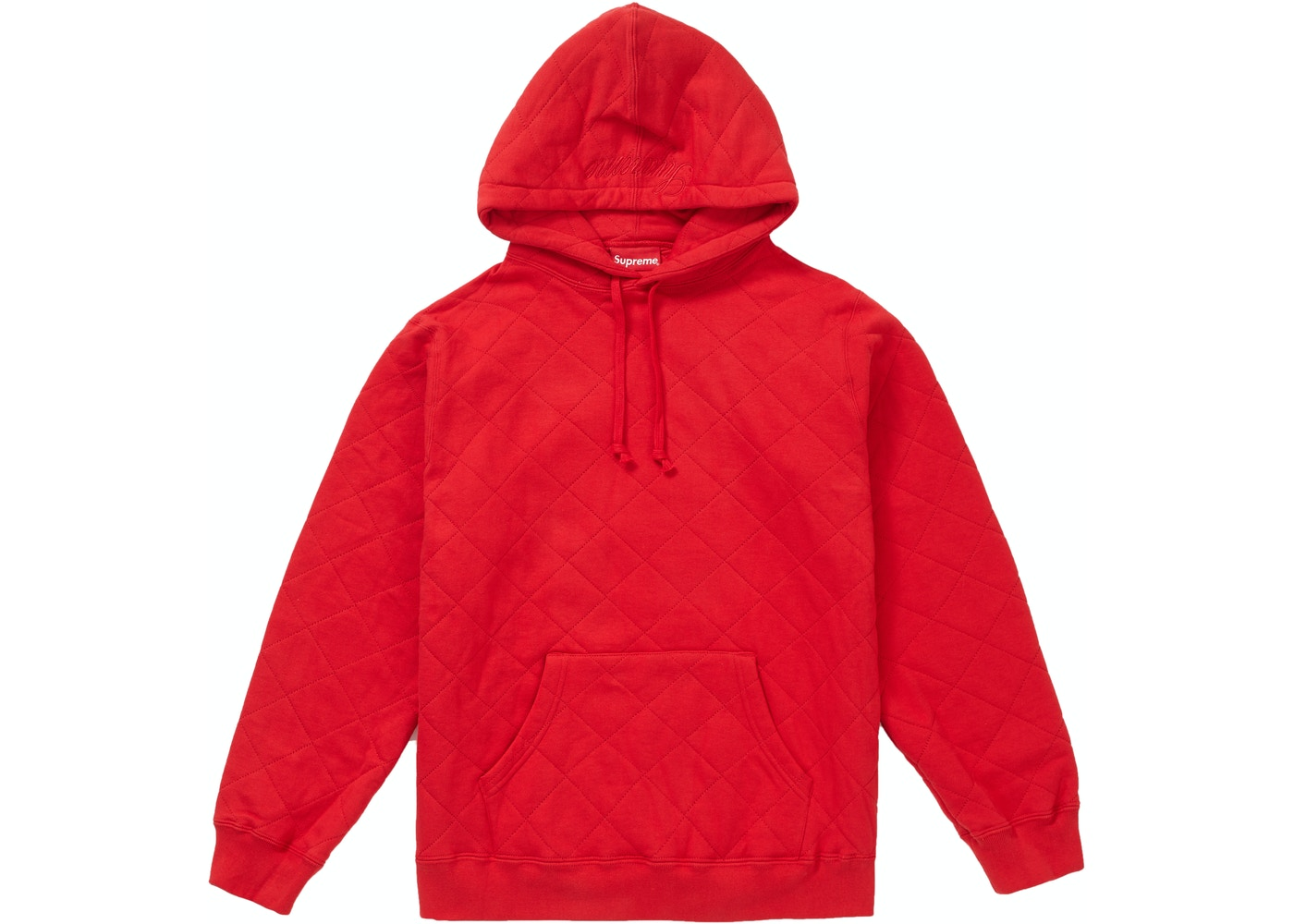 4bfa71434 Supreme Quilted Hooded Sweatshirt Red - FW18