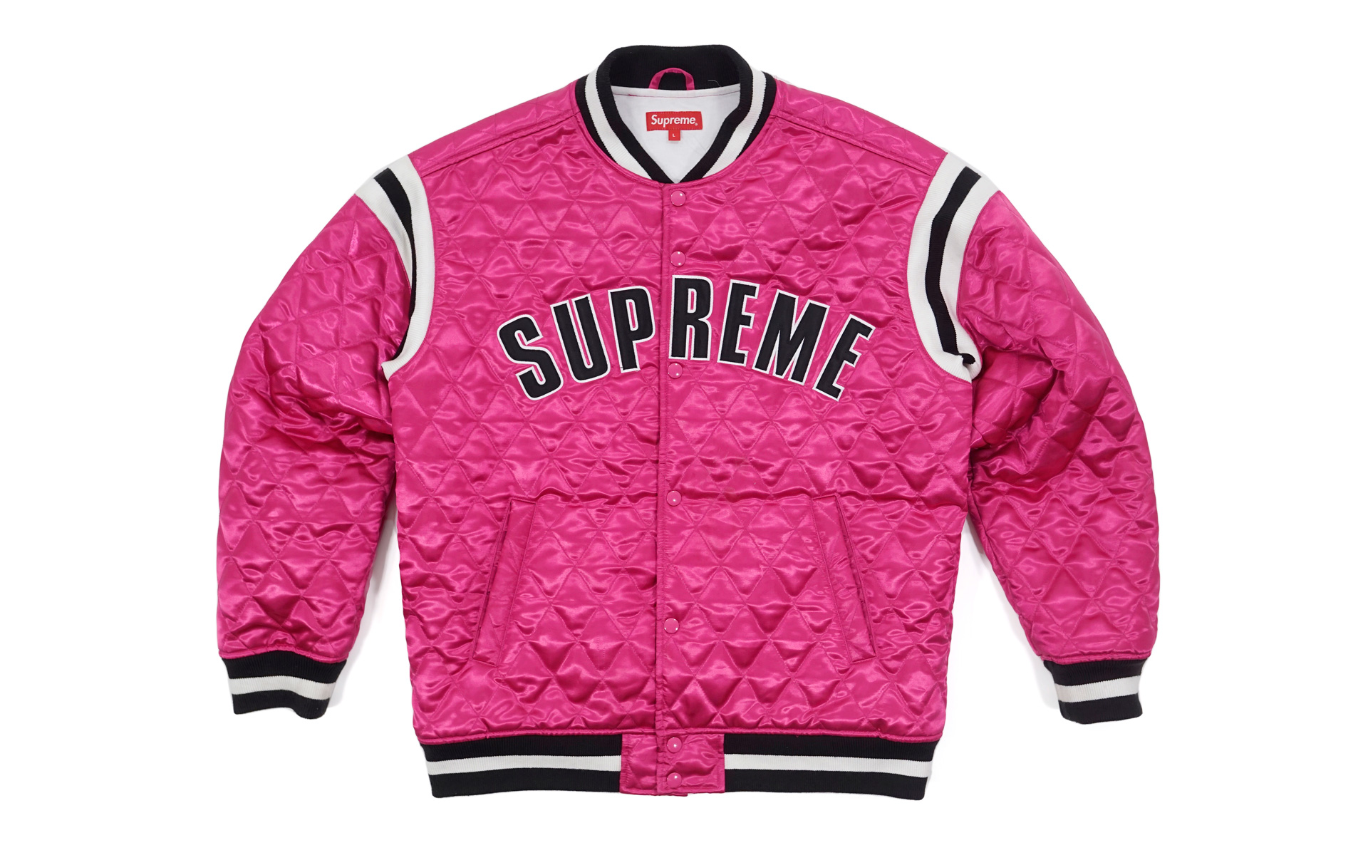 Supreme Quilted Satin Varsity Jacket Magenta